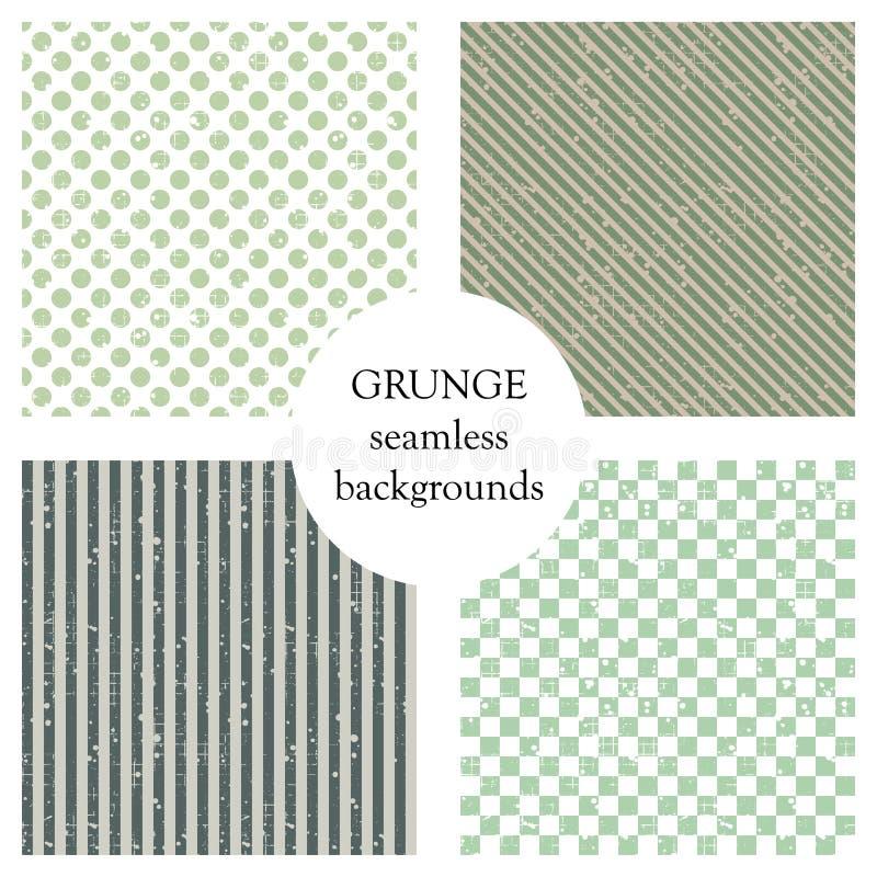 Ensemble de modèles sans couture de vecteur Milieux géométriques avec des points, places, diagonale, lignes verticales Texture gr illustration de vecteur