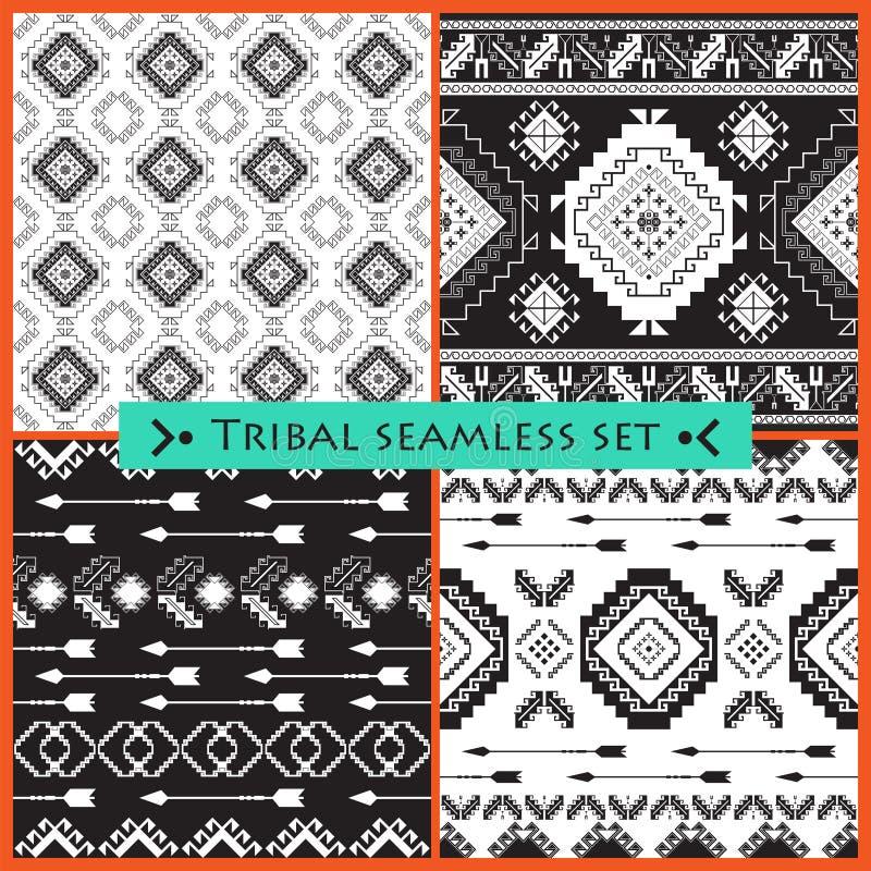Ensemble de 4 modèles sans couture ethniques illustration libre de droits