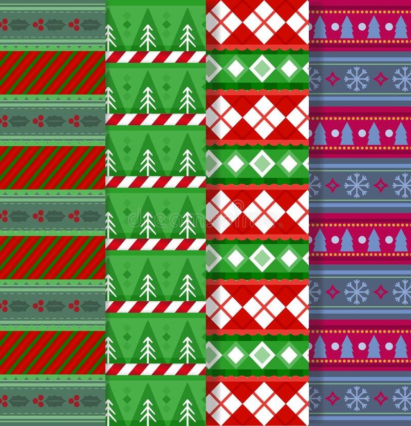 Ensemble de modèles sans couture f de Noël multicolore mignon ou de nouvelle année illustration stock
