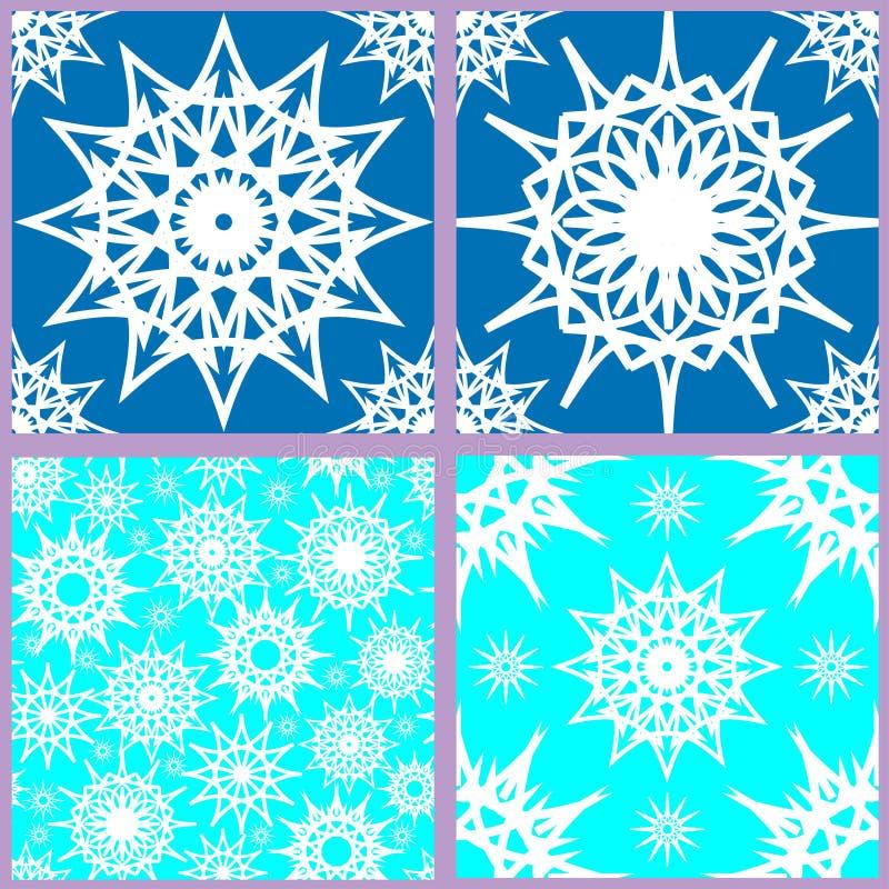 Ensemble de modèles sans couture de flocon de neige illustration stock