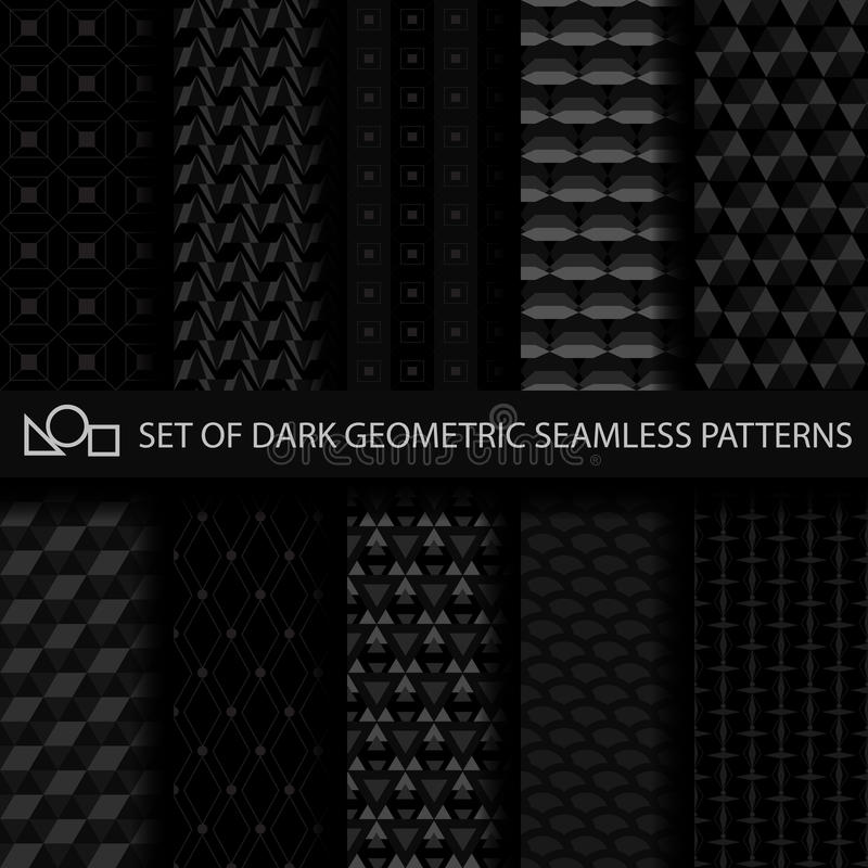 Ensemble de modèles sans couture géométriques foncés image libre de droits