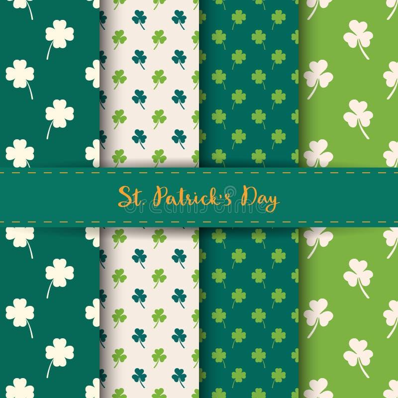Ensemble de modèles sans couture de jour du ` s de St Patrick avec le trèfle et l'oxalide petite oseille dans la couleur verte et illustration de vecteur