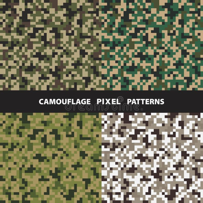Ensemble de modèles sans couture de pixel de camouflage illustration libre de droits