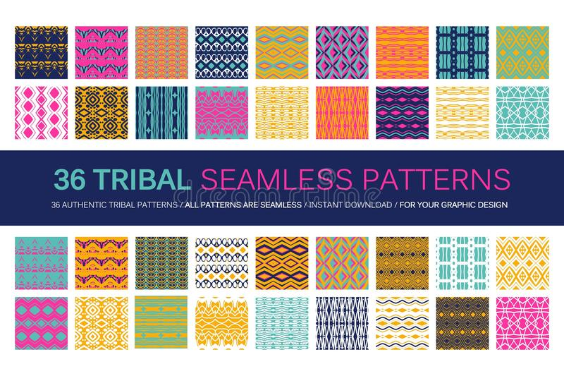 Ensemble de 36 modèles sans couture tribals illustration libre de droits