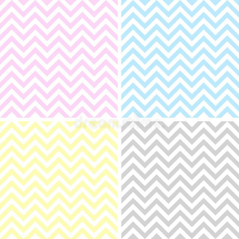 Ensemble de 4 modèles de zigzag illustration stock