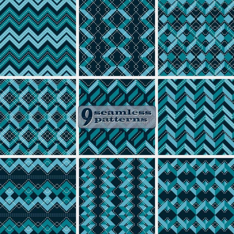 Ensemble de modèles de zigzag bleus sans couture avec piquer blanc illustration stock