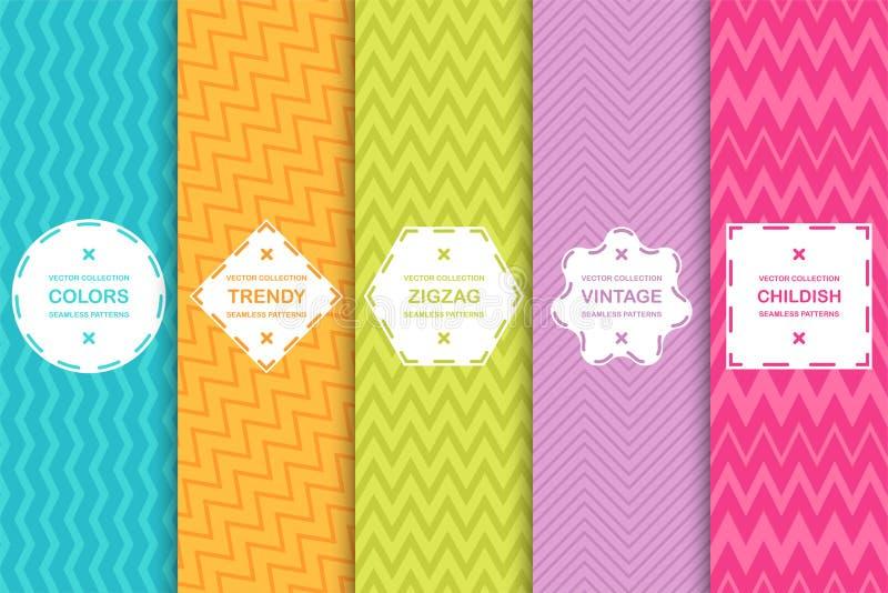 Ensemble de modèles de zigzag sans couture lumineux - dirigez la texture rayée Milieux élégants colorés illustration de vecteur