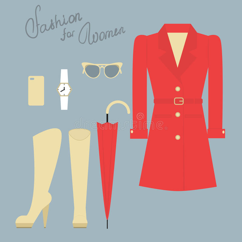 Ensemble de mode de vêtements femelles élégants pour l'automne illustration libre de droits
