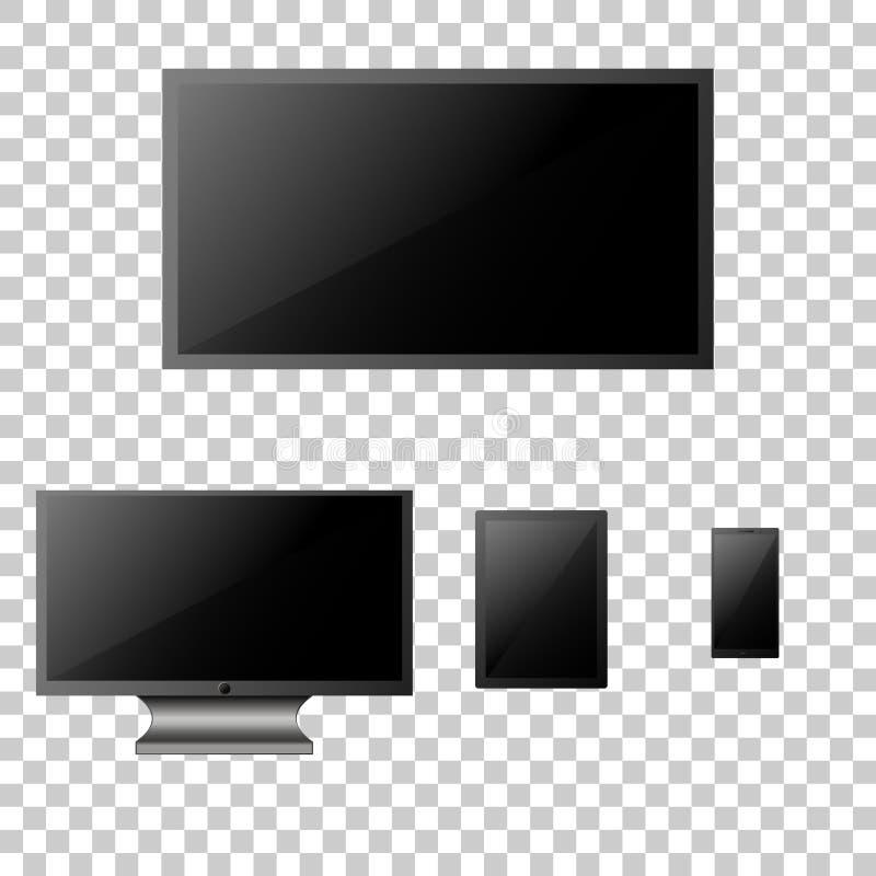 Ensemble de moniteur d'ordinateur, de TV lsd, de comprimé et de smartphone réalistes illustration de vecteur