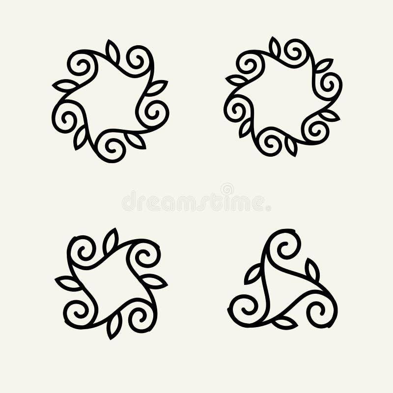 Ensemble de monogramme floral élégant illustration libre de droits