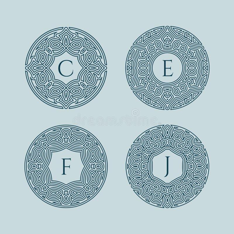 Ensemble de monogrammes illustration stock