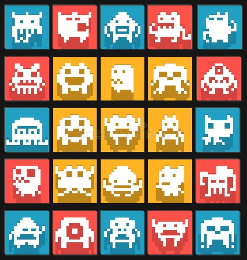 Ensemble de monstres d'art de pixel de bit de l'appartement 8 illustration libre de droits