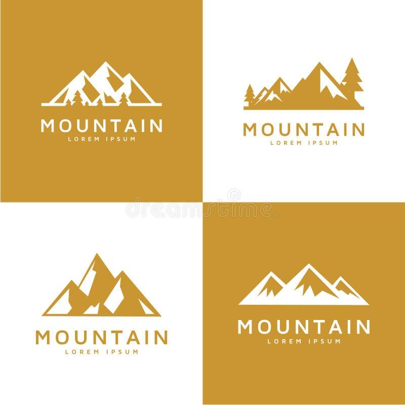 Ensemble de montagne de vecteur et de logo ext?rieur d'aventures illustration libre de droits