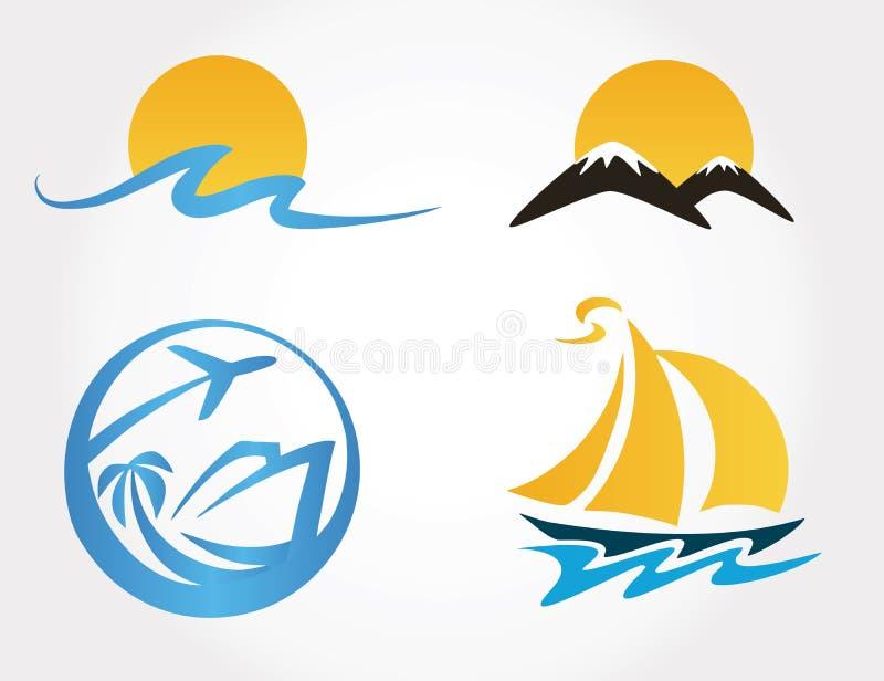 Ensemble de montagnes d'icônes de voyage, vagues, yacht illustration stock