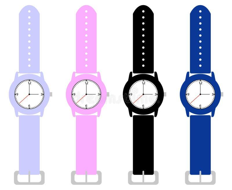 Ensemble de montres-bracelet de gosses illustration libre de droits