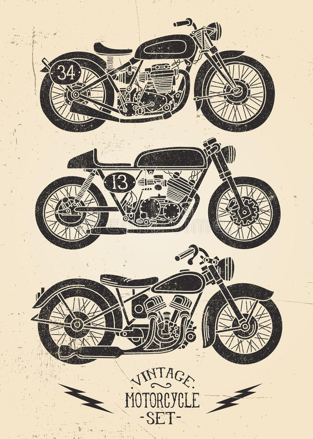 Ensemble de moto de vintage illustration stock