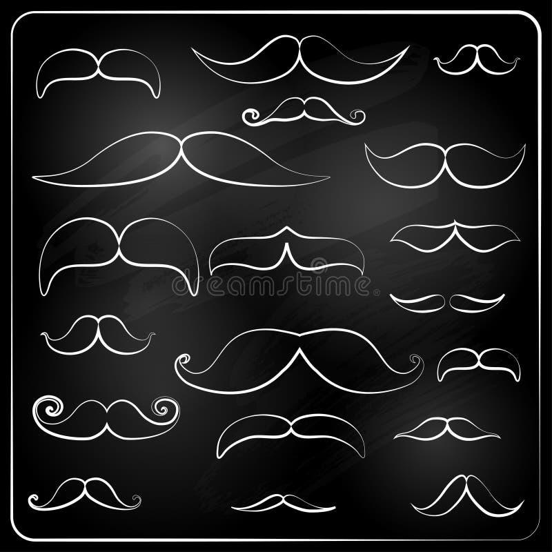 ensemble de moustaches dessinées avec la craie. illustration libre de droits