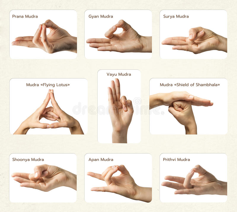 Ensemble de 9 mudras images libres de droits