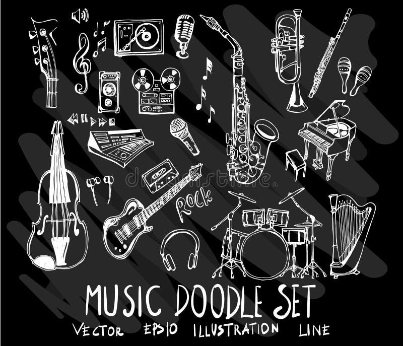 Ensemble de musique de collection de dessin de griffonnage de vecteur sur le backgroun noir illustration stock