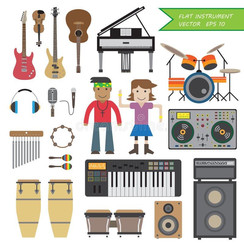 Ensemble de musique plate d'instrument illustration libre de droits