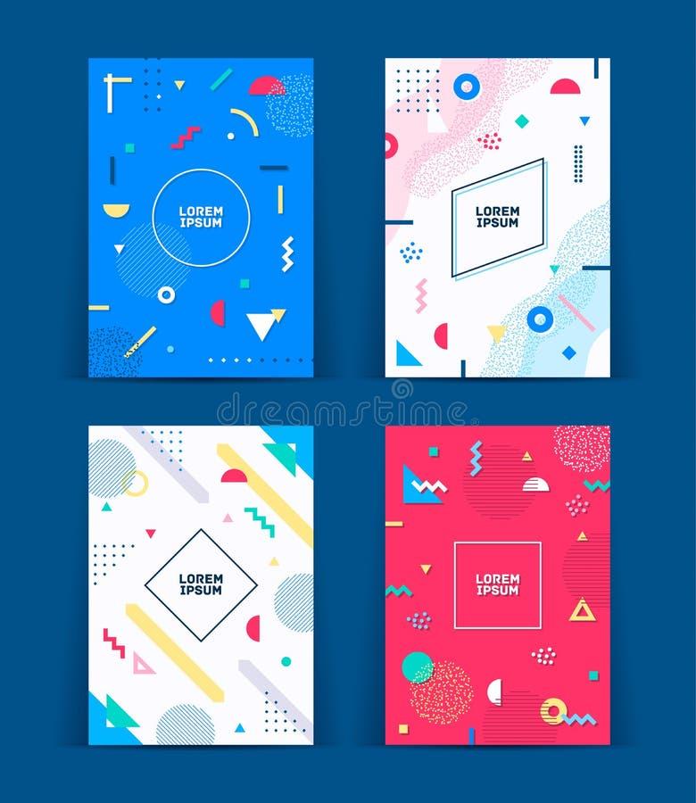 Ensemble de néo- couvertures de style de Memphis Collection de couvertures lumineuses fraîches Le résumé forme des compositions V illustration stock