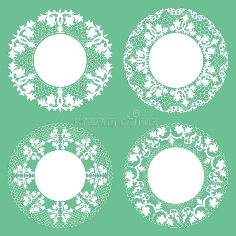 Ensemble de napperon de dentelle de cru, tapis d'endroit, coupe-circuit de papier illustration de vecteur
