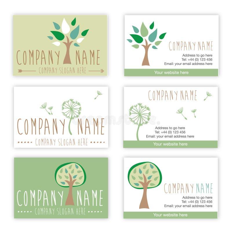 Ensemble de nature et de cartes de visite professionnelle de visite de jardinage illustration libre de droits