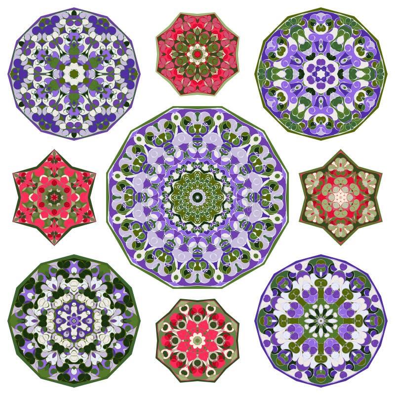 Ensemble de neuf éléments colorés ronds circulaires abstraits de mandalas illustration libre de droits