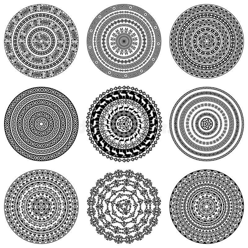 Ensemble de neuf 9 éléments ronds monochromatiques ethniques de conception d'isolement sur le blanc illustration de vecteur