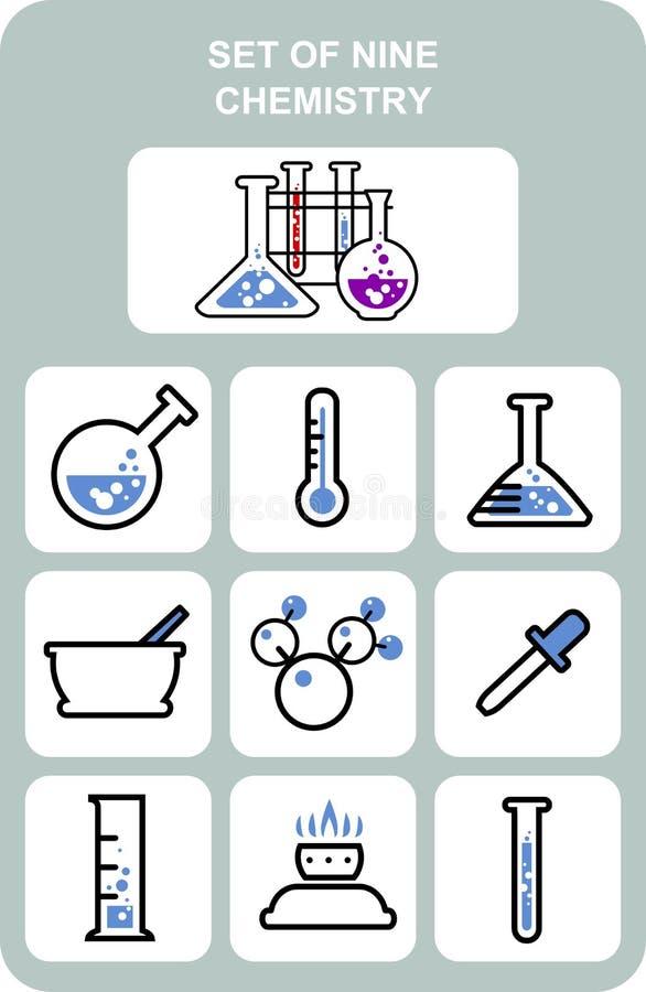 Ensemble de neuf - chimie illustration stock
