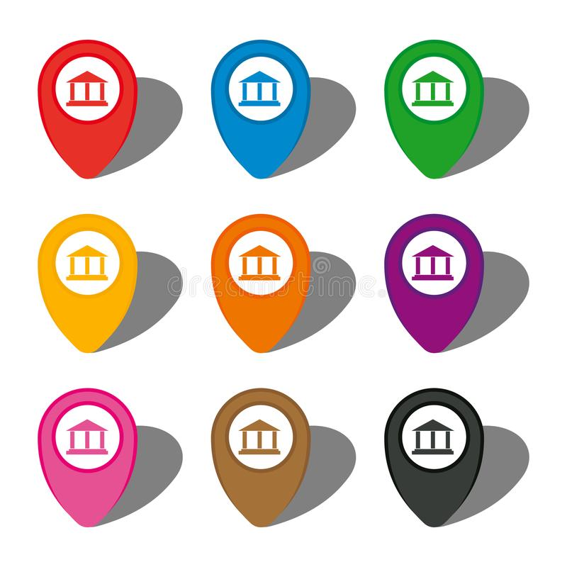 Ensemble de neuf indicateurs colorés de carte avec le signe de showplace illustration stock
