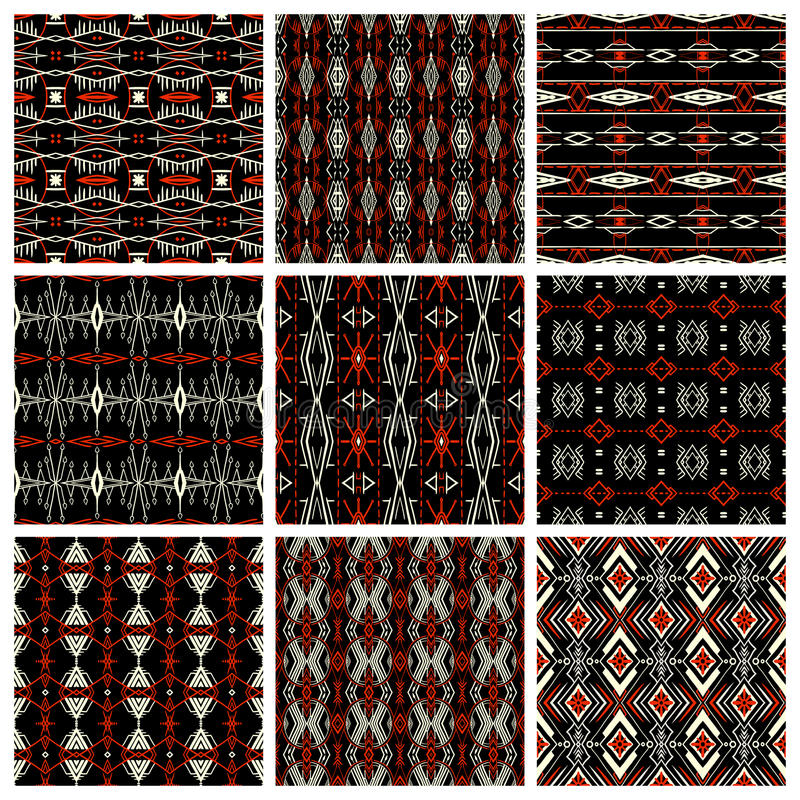 Ensemble de neuf modèles tribals illustration de vecteur