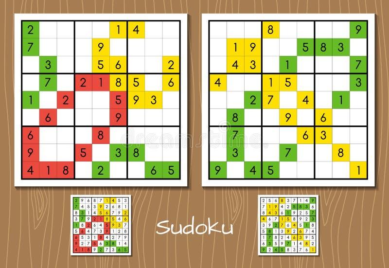 Ensemble de niveau moyen de vecteur de Sudoku illustration de vecteur
