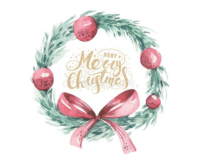 Ensemble de Noël d'aquarelle de guirlande avec les branches, la fleur et les baies impeccables d'arbre de Noël sur un fond blanc illustration de vecteur