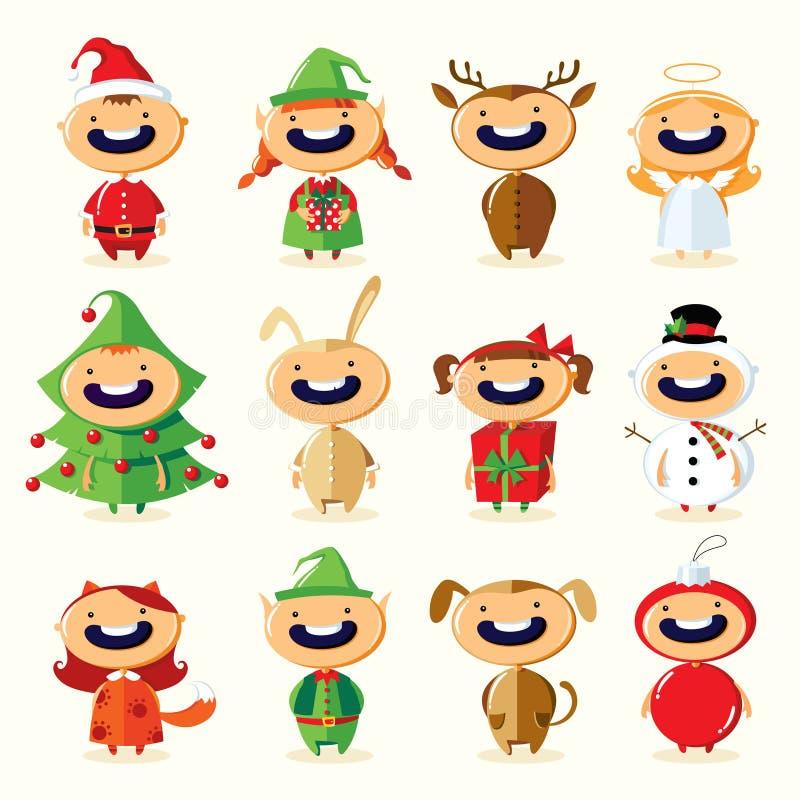 Ensemble de Noël d'enfants mignons de bande dessinée dans des costumes colorés illustration libre de droits