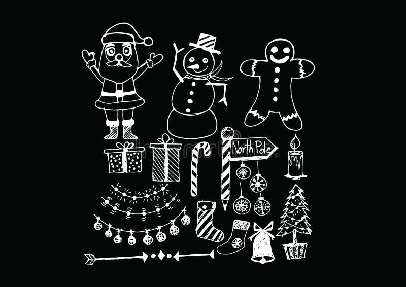 Ensemble de Noël d'icônes et d'éléments illustration stock