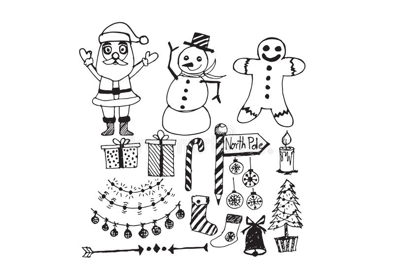 Ensemble de Noël d'icônes et d'éléments illustration libre de droits