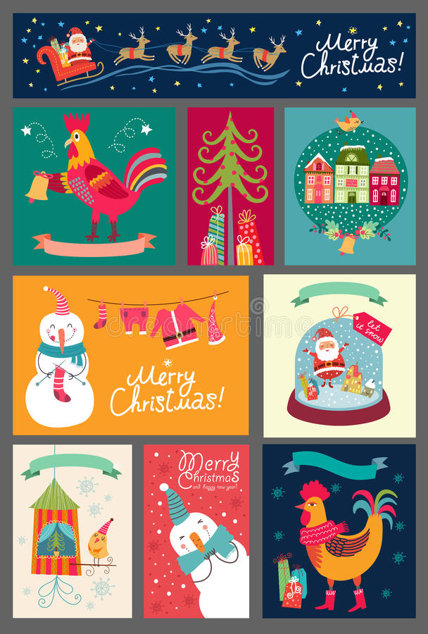 Ensemble de Noël de cartes Collection d'autocollants, milieux illustration libre de droits