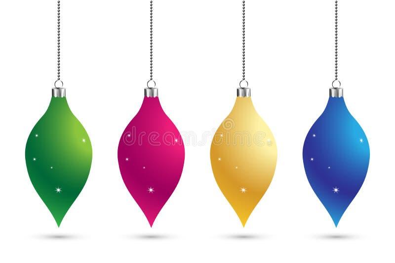 Ensemble de Noël de fond de décoration de boules avec des étoiles Babiole de bonne année traditionnelle Joyeuse carte de voeux de illustration de vecteur
