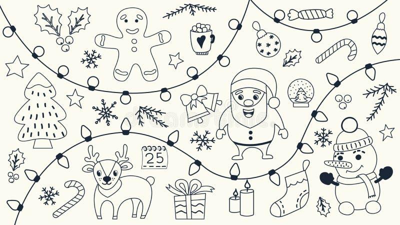 Ensemble de Noël de griffonnages tirés par la main illustration stock