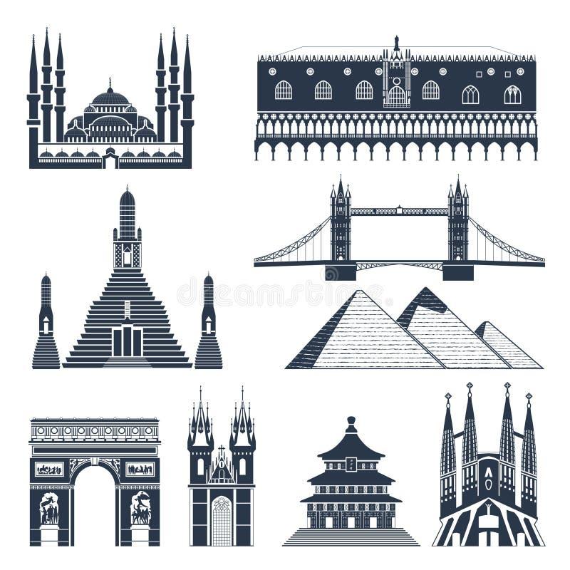 Ensemble de noir de points de repère et de monuments illustration libre de droits