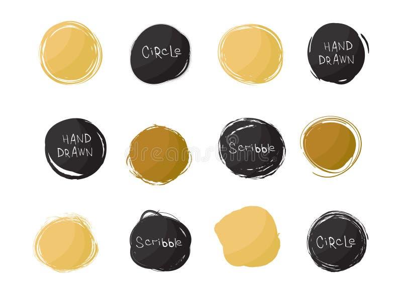 Ensemble de noir et de taches rondes d'or d'isolement sur le fond blanc Cercles tirés par la main de griffonnage Pays de rappe de illustration libre de droits