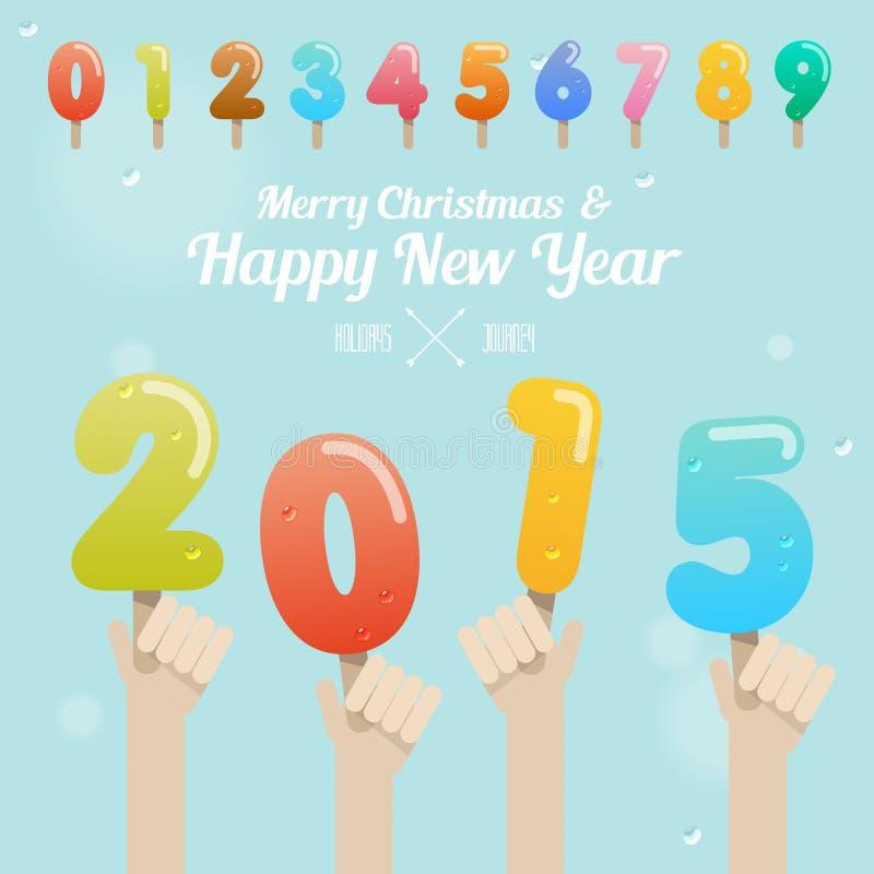 Ensemble de nombre de crème glacée avec la main sur le Joyeux Noël et le happ illustration de vecteur