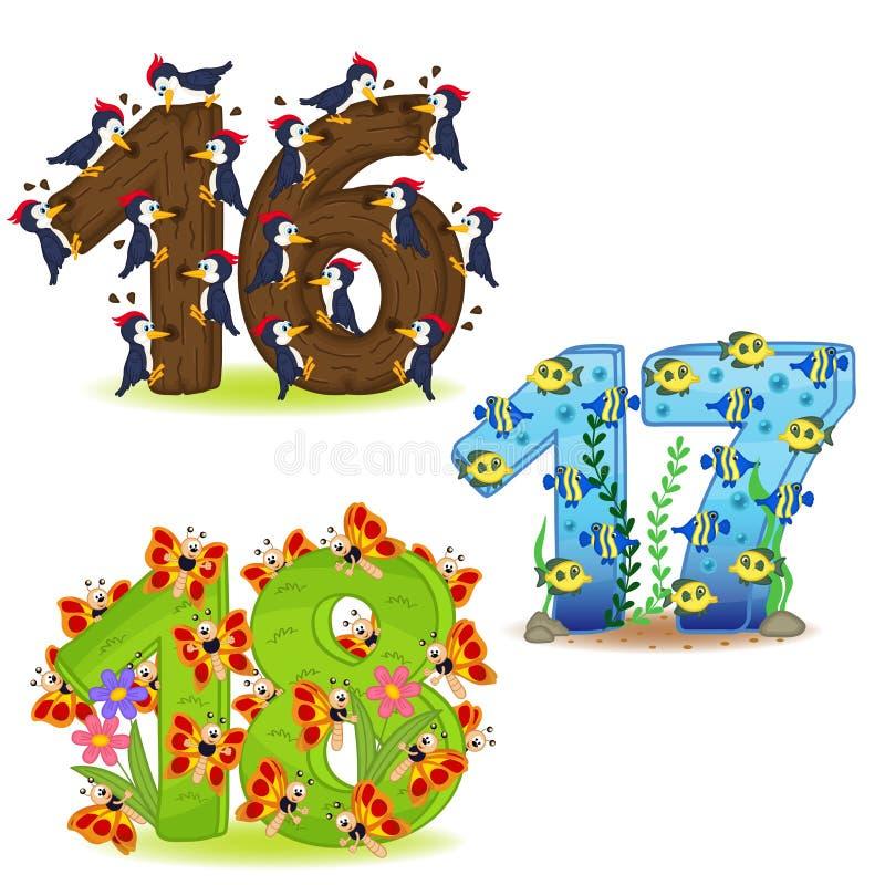 Ensemble de nombres avec le nombre des animaux de 16 à 18 illustration stock