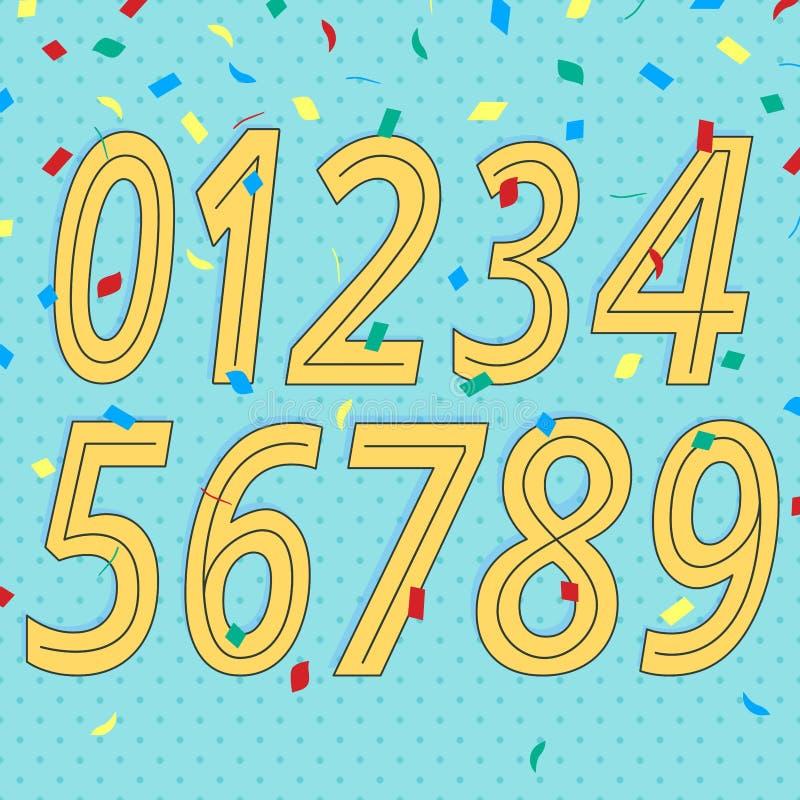 Ensemble de nombres avec de rétros éléments de style de la conception 80s-90s d'isolement sur le fond pointillé avec l'illus plat illustration de vecteur