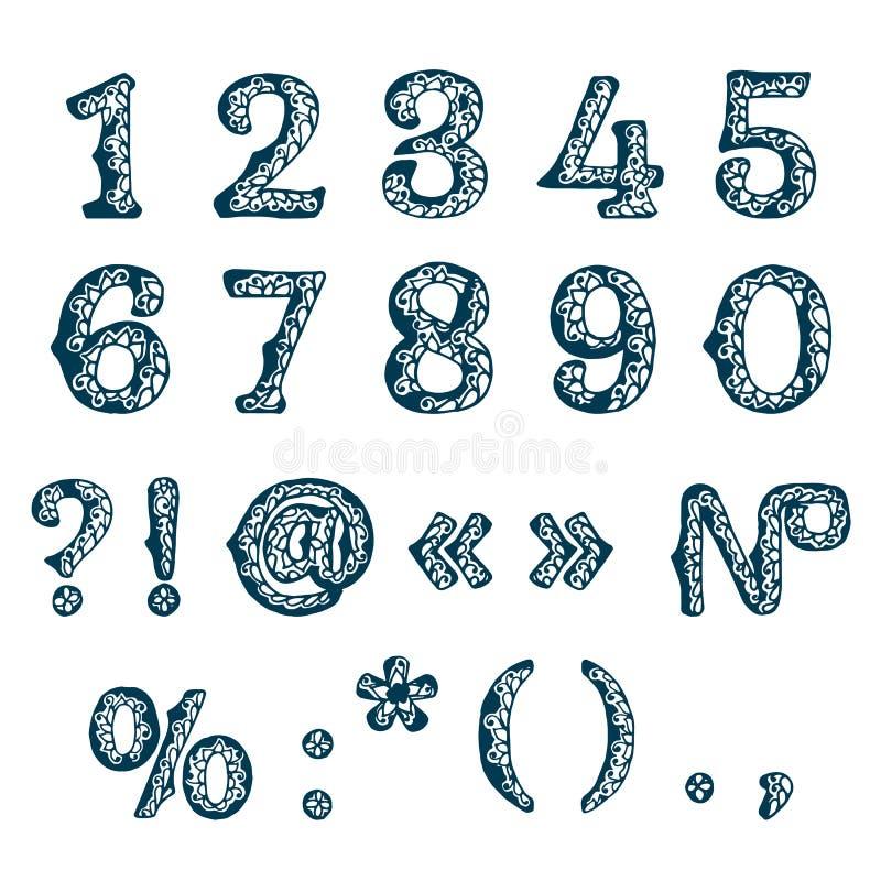 Ensemble de nombres calligraphiques stylisés illustration libre de droits