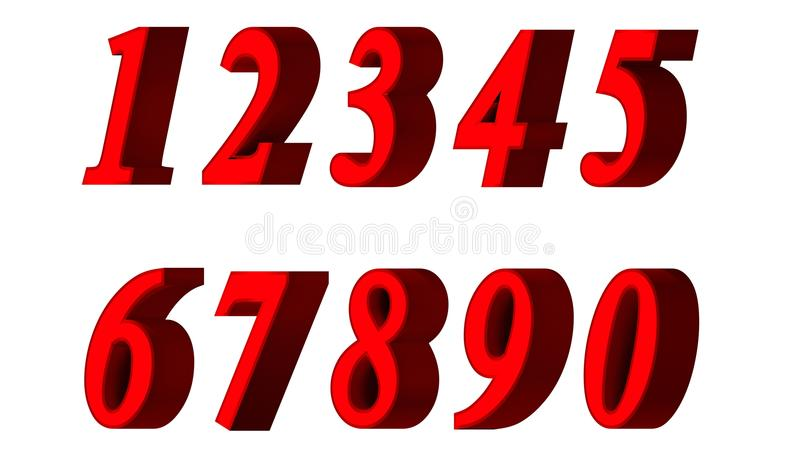 Ensemble de nombres 3d Police rouge à l'arrière-plan blanc D'isolement, facile à utiliser illustration de vecteur
