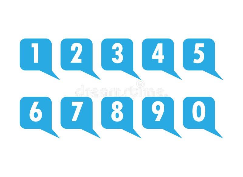 Ensemble de nombres sur un fond carré bleu, légende pour le texte ou illustration de vecteur