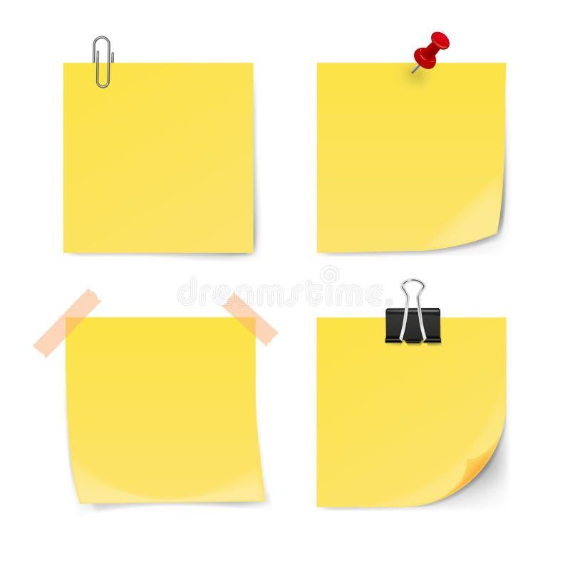 Ensemble de notes collantes jaunes d'isolement sur le fond blanc illustration libre de droits