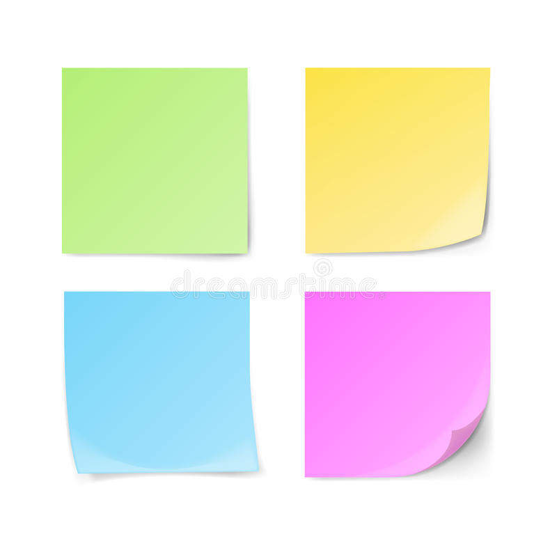 Ensemble de notes collantes vertes, jaunes, bleues, violettes illustration libre de droits